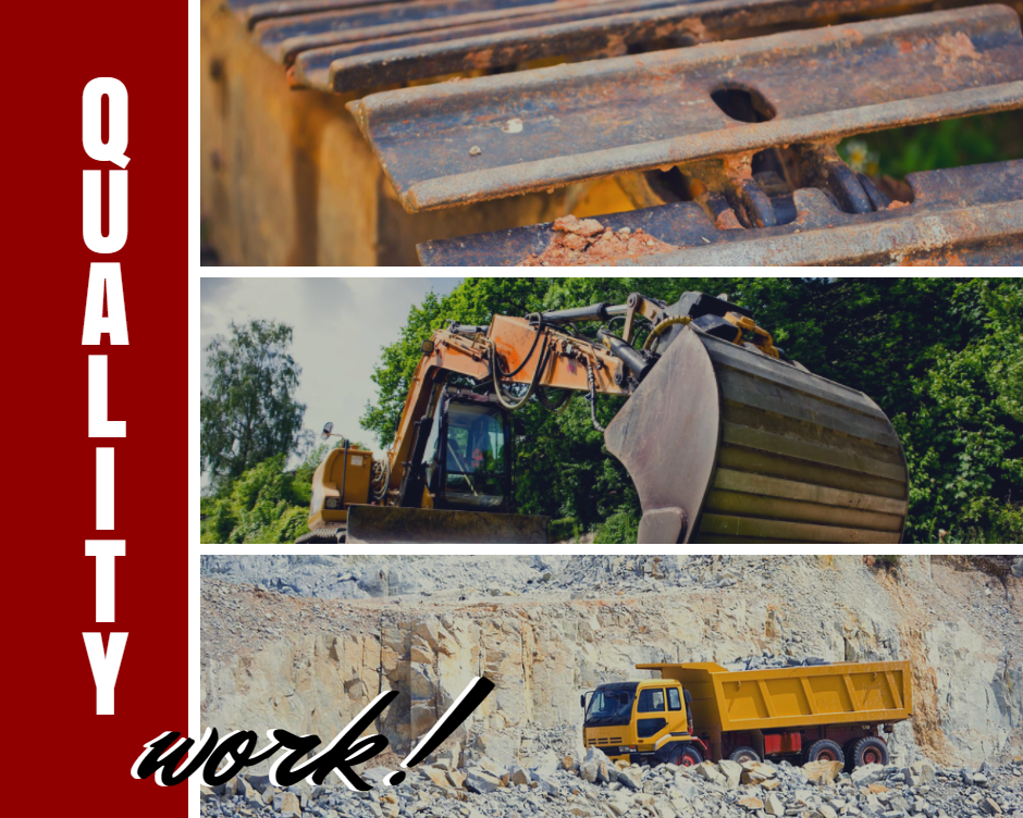 Collage of bulldozers and a hauling truck